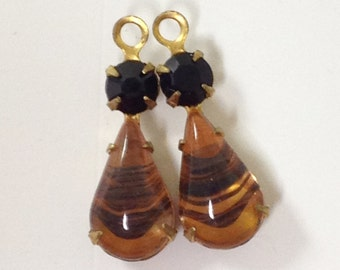 Vintage Brass Drops, Dangles, Topaz Brown with Black Pear Shape with Round Jet Black Rhinestones, 1 Pair, 21x8mm