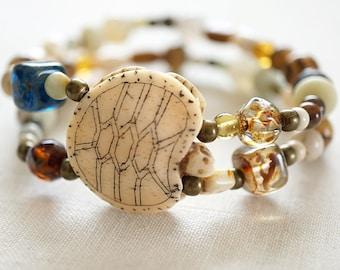 Summer Party Gift Carved Bone Turtle Multi Gemstone Bracelet Bohemian Double Strand Bracelet Mixed Pearl Amazonite Jasper Quartz Bracelet