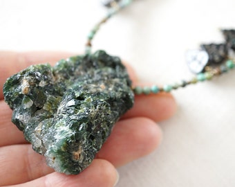 Boho Jewelry Raw Emerald Druzy Necklace Large Green Beryl Stone Crystal Rock Pendant Petite Wild African Turquoise Beaded Necklace May birth