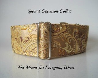 Gold Martingale Collar, Silk Martingale Collar, Gold Greyhound Collar, Silk Dog Collar, Silk Brocade, Custom Dog Collar