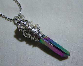 Rainbow Mystic Aura Quartz Crystal Bullet Jewelry Pendant