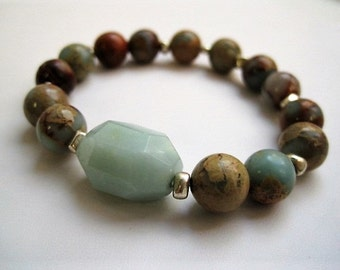 Amazonite Nugget Bracelet / Impression Jasper Stacking Bracelet / Pale Aqua Cream Terra Cotta
