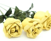 3 lemon yellow leather rose bouquet  Wedding/3rd Anniversary Gift Long Stem Flower Valentine's Day 3rd Leather Anniversary Mother's Day Prom