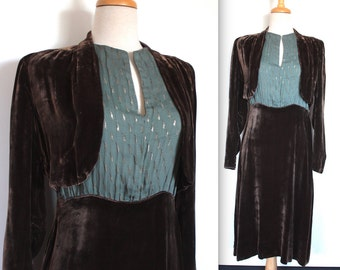 Vintage 1920's Dress // 20s 30s Brown Silk Velvet Dress with Attached Bolero Jacket // Steel Blue Mesh with Silver Art Deco Embroidery
