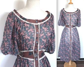 Vintage 1970's Gunne Sax Dress // 70s Pink and Blue Floral Boho Festival Dress // Summer Peasant Dress with Sash // DIVINE