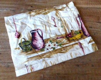 Vintage 1940s Fabric // 40s 50s Barkcloth Fabric // Kitchen Scene // Fruits
