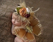 Gold glitter Wing Set - Newborn Wings -  - Newborn Wing Set - Prop Wings ,Angel wings, brown  newborn wings,  fairy wings