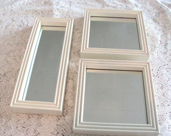 Wall Mirror Set,  Three Wood Framed Cream Vintage Wall Mirrors, Square and Oblong Mirrors