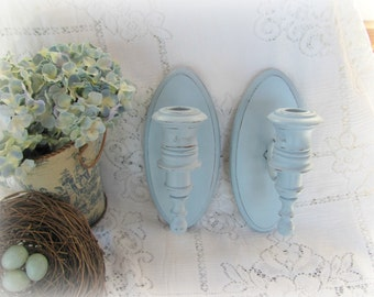 Blue Candle Sconces, Wood and Metal Candle Holders, Pair of Vintage Wooden Candle Sconces