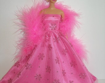 """Handmade 11.5"""" fashion doll clothes - pink satin and glittery floral tulle gown with boa"""