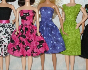 "Handmade 11.5"" fashion doll clothes - mixed lot of 7  dresses"