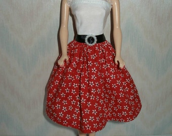 "Handmade 11.5"" fashion doll clothes - red with white flowers print dress"