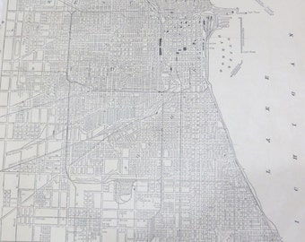 1891 Chicago Original Atlas Map-Art-122 years Old-City Street View