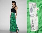 Designer Pucci Vintage 1960s Green Graphic Maxi Skirt   - Vintage 60s Pucci - Vintage Max Skirts - WB0310