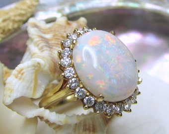 18k Opal and Diamond Ring Huge 6.5ctw Australian Opal 1ctw Diamonds Size 6
