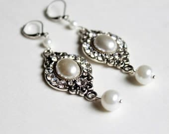 Pearl and Crystal Earrings Dangle Earrings Bridal Earrings Bridal Jewelry Wedding Jewelry Ladies Jewelry Special Occasion Jewelry