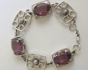 Large Oval Amethyst Bracelet Vintage 1950s Glass and Silvertone Metal 7.75 Inches Long
