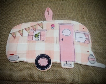 Camping Potholder, Camper potholder, canned Ham Camper made to order