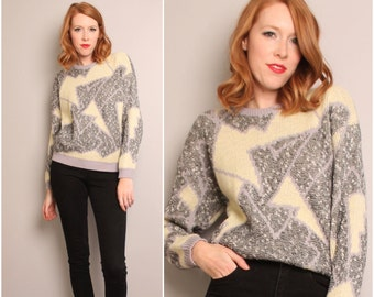 1980's Abstract Sweater / Gray White Neutral / Small