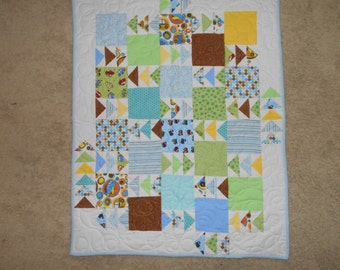 Proceeds Support Charity Work - Flannel Flying Geese Baby Quilt - It's a Boy!  Blue, Brown, Green, Yellow