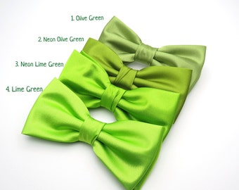 Wedding Bow Tie | Mens Satin Bow Tie | Solid Green Bow Tie | Neon Green Lime Green Olive Green Bow Tie Groom Groomsmen Boy Baby Shower Gift