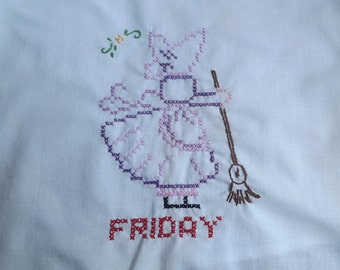 Hand Embroidered Sun Bonnet Sue Dish Towel   Day of the Week Friday