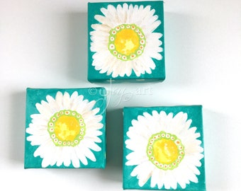 3 little white daisy paintings, set of 4x4 inch acrylic paintings for home or office
