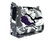 IKEA Fabric Messenger Bag for Women, Canvas Crossbody Purse, Cotton Pocketbook, Gray, White and Black Purse, Cabbage Print Bag, Canvas Bag