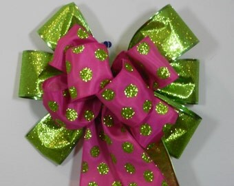 Easter Basket/wreath Decorative Bow Birthday bow Pink and green polka dots