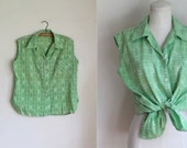 50% OFF...last call // vintage 1960s sleeveless blouse - SOLSTICE SUN lime green button down top / L