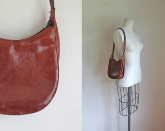 vintage leather handbag -  CHERRY WOOD brown satchel bag