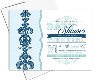 Printable baby shower invitation for a boy   navy and mint baby shower invites   digital or printed - WLP00732