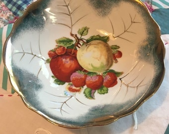 Vintage Serving Bowl Fruit and Strawberries Made in Japan #3780