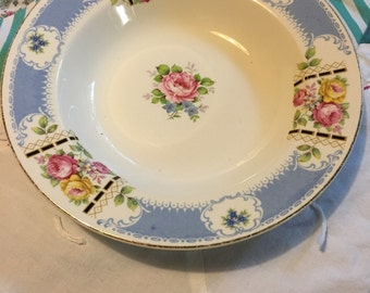 Vintage Blue and Floral Rimmed Soup Bowl Homer Laughlin Made in The USA #3882