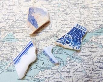 Blue and White Sea Pottery Pieces, Sea Pottery, Genuine Sea Tumbled Seapottery,  Irish beach pottery