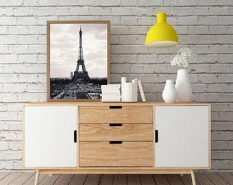 Travel Photography, Landscape Photography, Art Print, Architecture, Black White Print, Eiffel Tower in Paris- Digital Photography