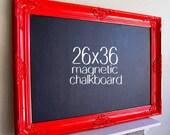 KITCHEN CHALKBOARD Red Framed Blackboard Kitchen Organization Black Board MAGNETIC Chalk Board Large Chalkboard Country Kitchen Decor