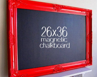 KITCHEN CHALKBOARD Red Framed Blackboard Kitchen Organization Black Board MAGNETIC Chalk Board Large Chalkboard Country Kitchen Decor