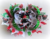 Christmas- Holiday stacked hair bow-Disney Mickey Minnie bow Red Green-Made by Maddie B's Boutique on Etsy