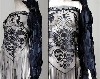 Raven wing sleeve armor shoulder piece