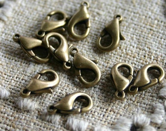 10pcs Clasp Lobster Claw 10x6mm Antiqued Gold Plated Pewter