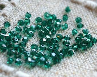 144pcs Swarovski Bicone Crystal Bead  Emerald Faceted Austrian Crystal 3mm Xilion Model 5328