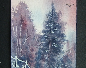 purple tree landscape aceo original (ref 384)