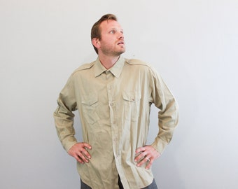 Vintage Military Long Sleeved Shirt Button Down Shirt