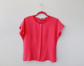 Vintage Hot Pink Short Sleeve Blouse by Greenwich Square