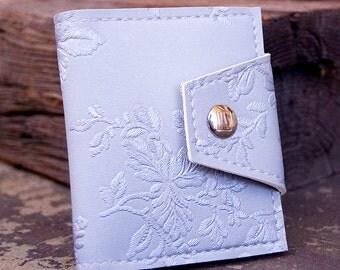 Silver VictorianCard Wallet Made of Vintage Vinyl,  Embossed Floral Slim Slimline Wallet