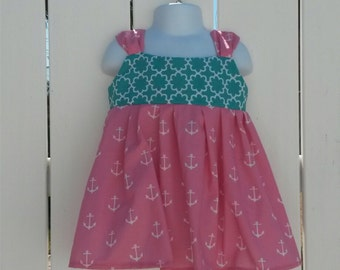 Size 12/18 Mos Pink Anchors Dress  READY to SHIP