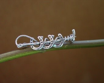 Equestrian Three Horse Shoes Crop Pin Brooch Stock Pin Sterling Silver,Horseshoe Brooch