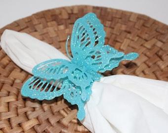 Butterflies Turquoise/Blue Glittered Napkin Rings Set of 8