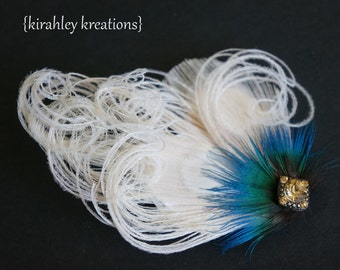 Champagne Ivory Blue Peacock Feather Fascinator Hair Clip Headpiece FANCY TIA Hairpiece Gold Rhinestones Bride Bridesmaids Flower Girl Prom